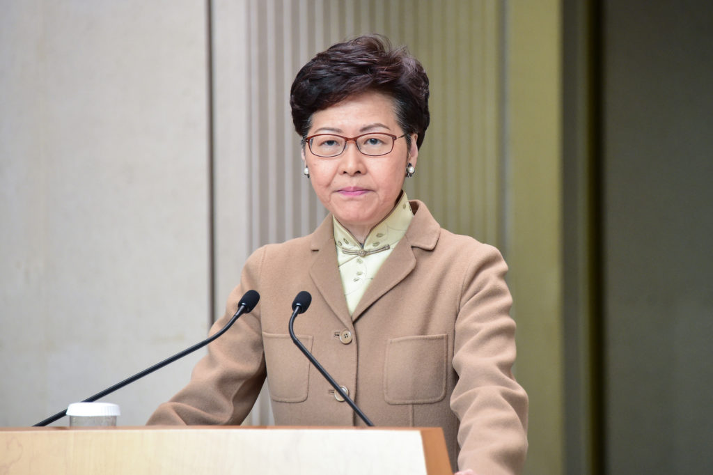 Hong Kong Leader Carrie Lam Commits to Work Closely With New Beijing Envoy
