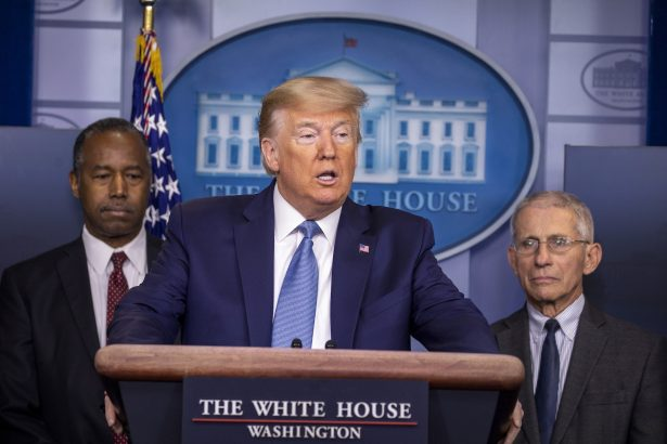 Trump speaks during a briefing